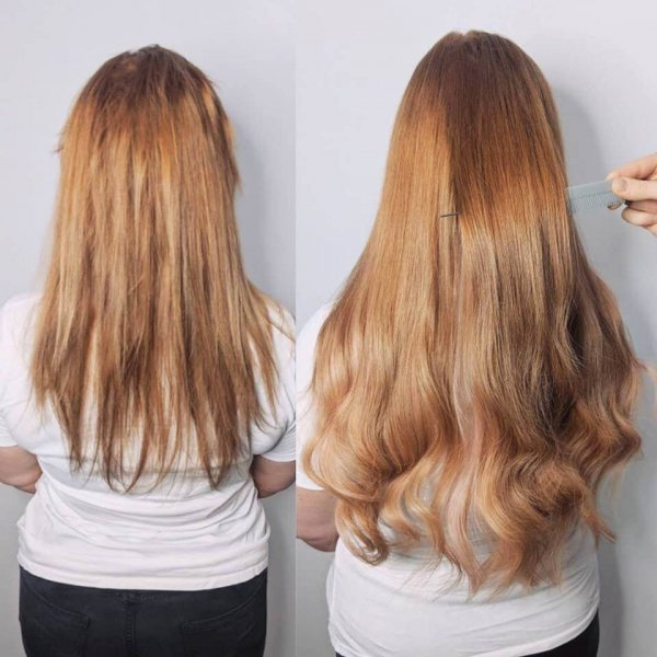 Red Russian Hair Extensions Client Gallery