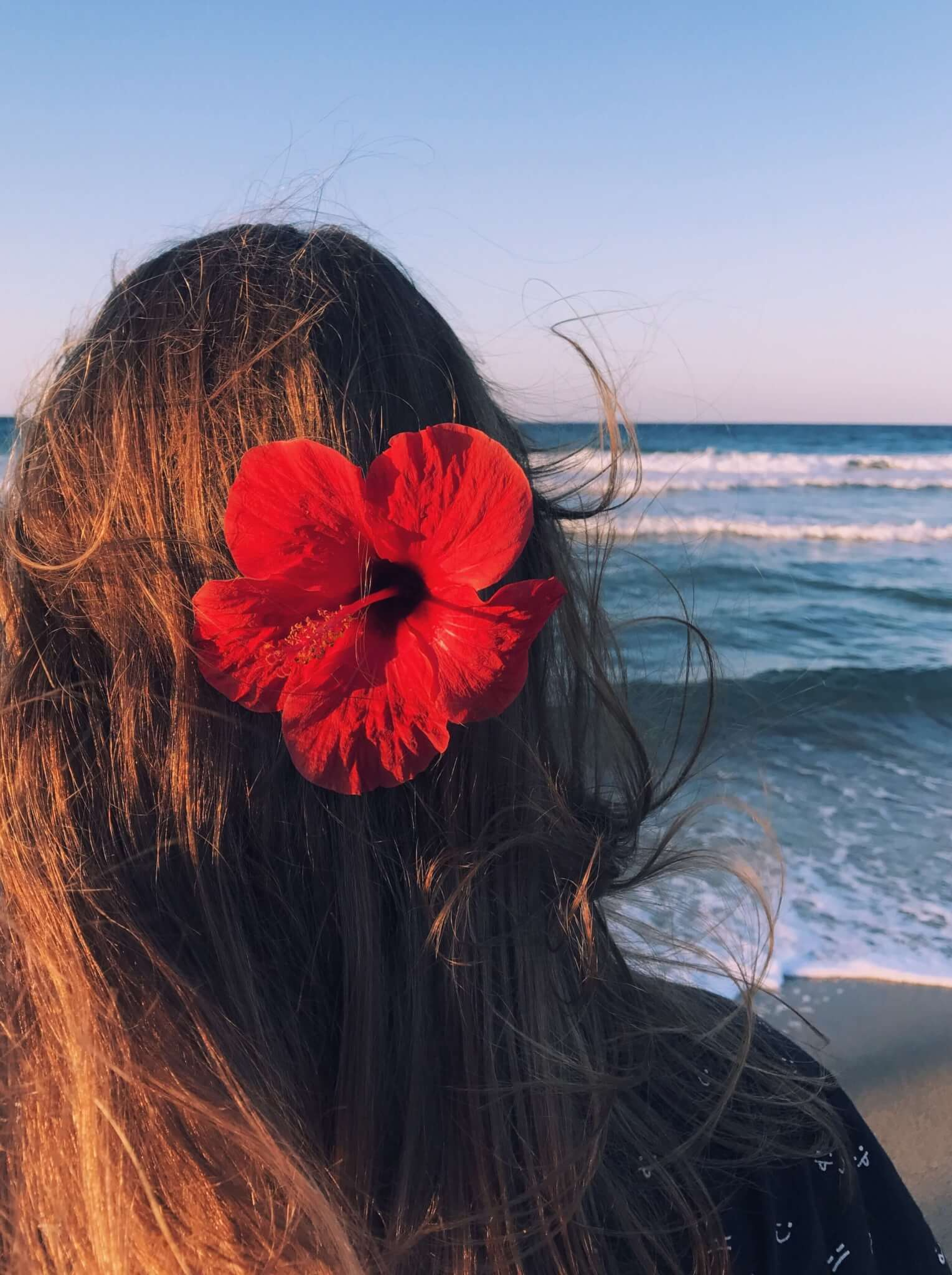 back view beach waves brunette hair and red hibiscus